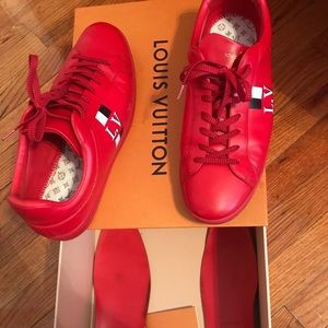 Authentic Louis Vuitton Luxembourg Red Sneakers